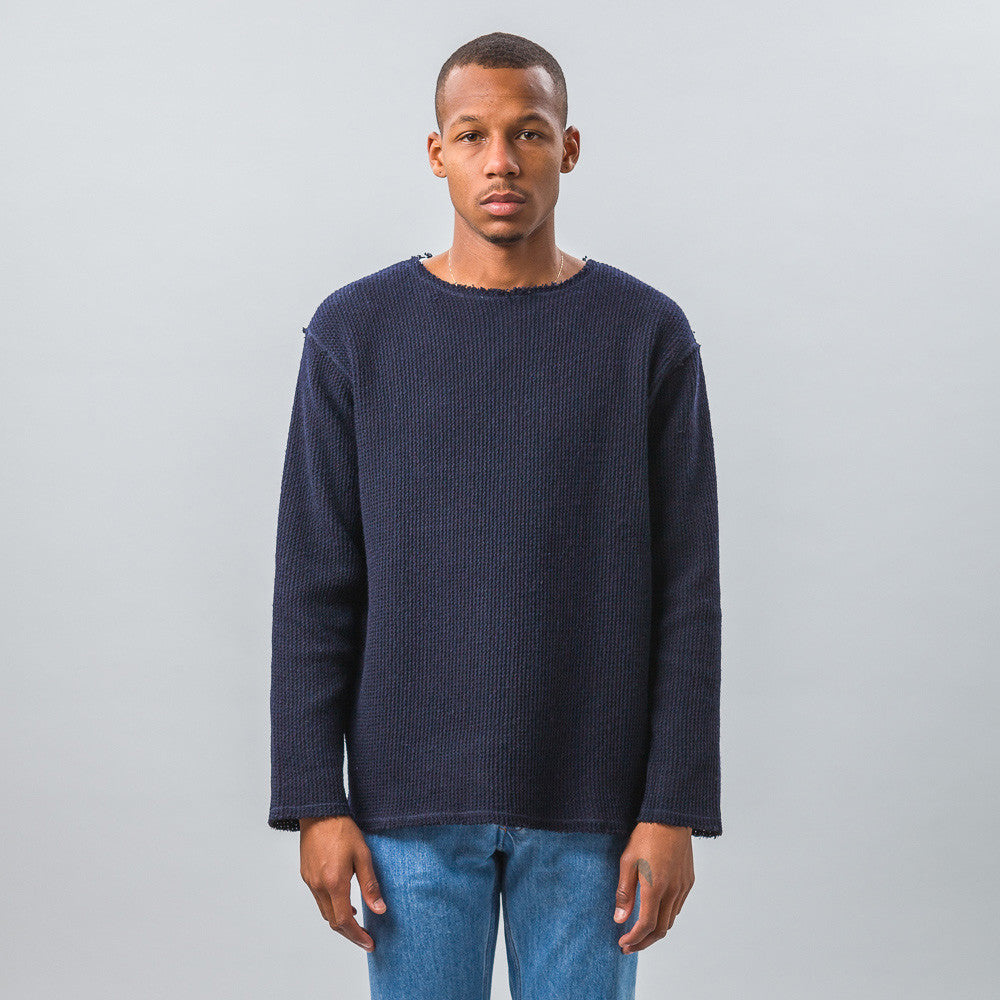 Needles Cut-Off Boat Neck L/S Tee in Navy Model Shot