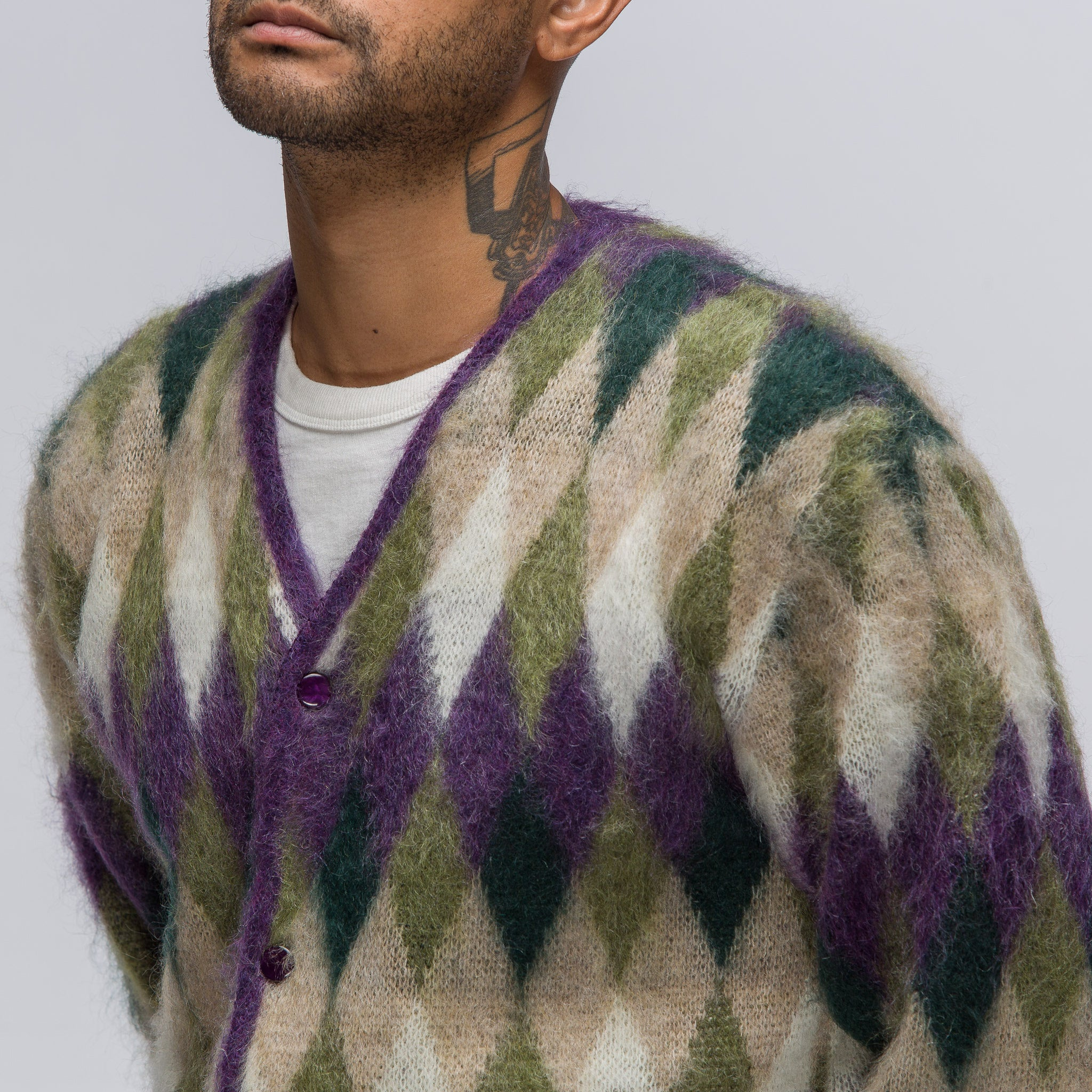Diamond Mohair Cardigan in Purple