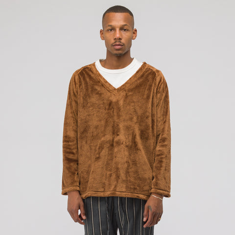 Needles Micro Fleece V-Neck Long Sleeve T-Shirt in Brown - Notre