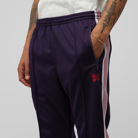 Needles Narrow Poly Track Pant in Eggplant - Notre