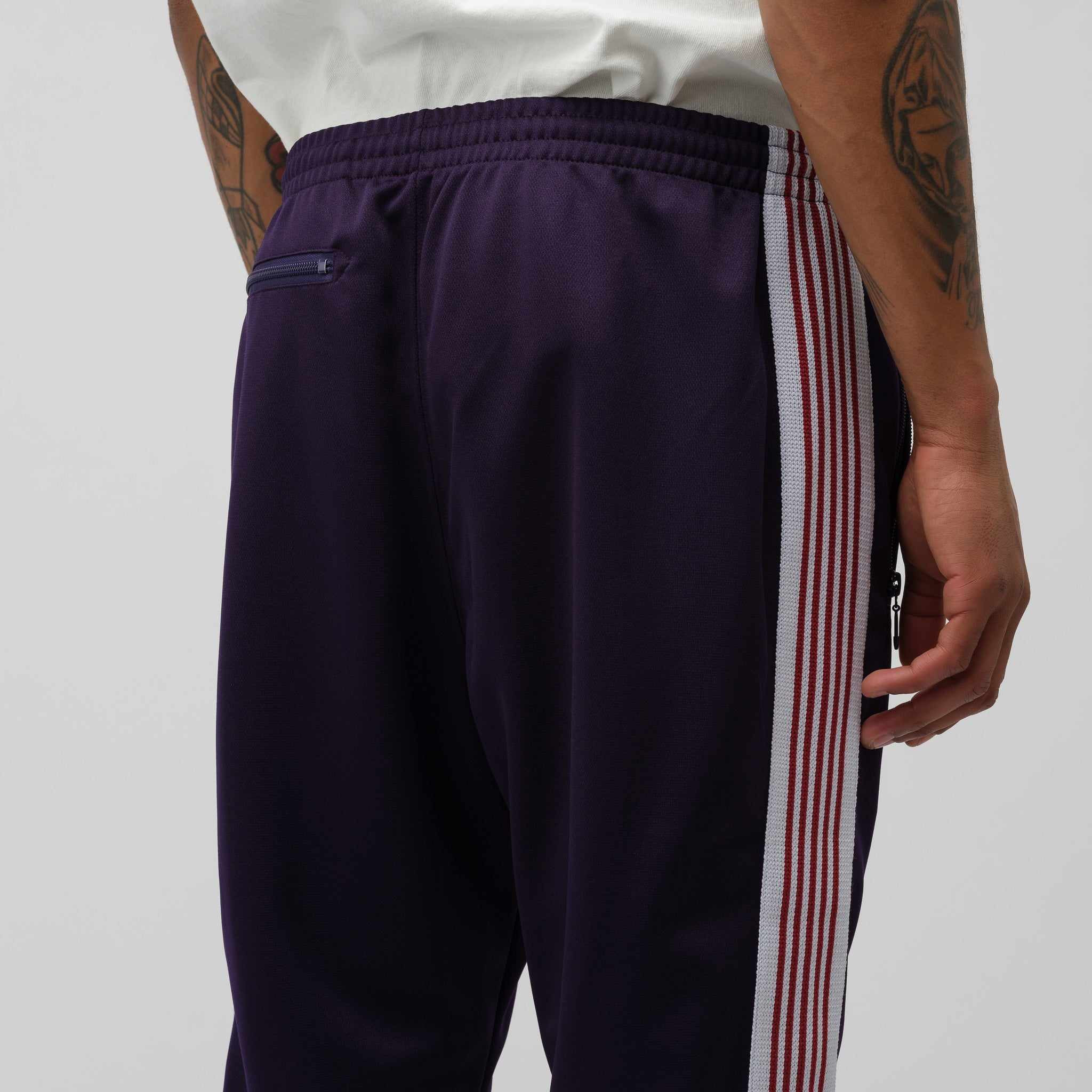 Narrow Poly Track Pant in Eggplant