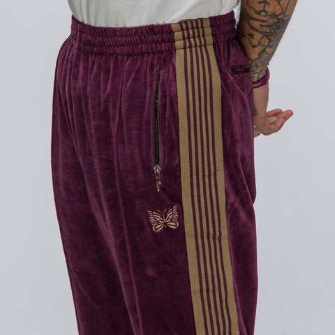 Needles Narrow Track Pant in Bordeaux - Notre