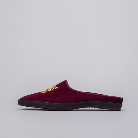 Needles Papillon Embroidered Velveteen Mule in Bordeaux - Notre