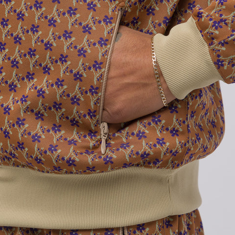 Needles Poly Jacquard Track Jacket in Brown Floret - Notre