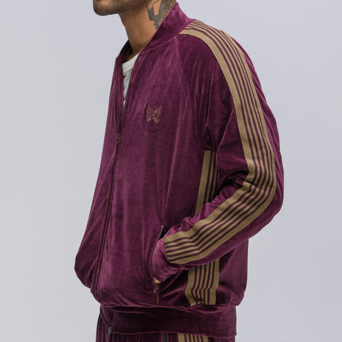 Needles Rib Collar Track Jacket in Bordeaux Velour - Notre