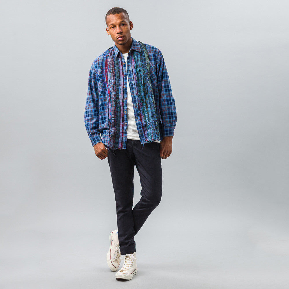Needles Ribbon Flannel Shirt in Indigo Model Shot