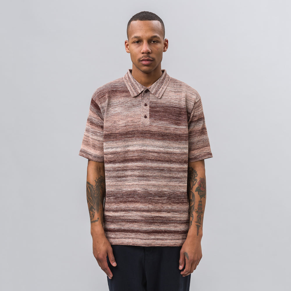 Needles Splashed Pattern Polo Sweater in Brown - Notre