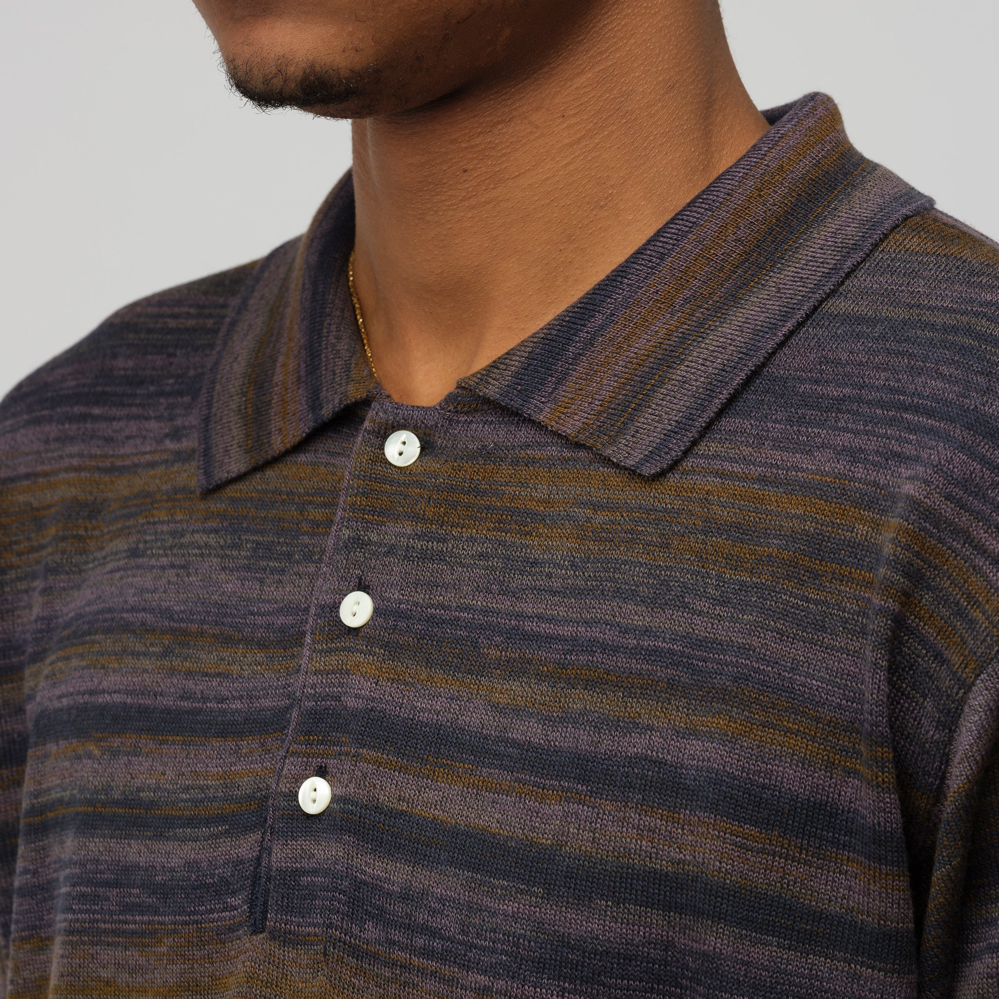 Splashed Polo Sweater in Purple/Navy