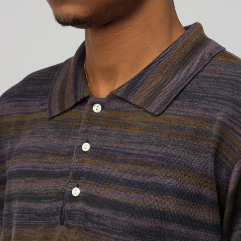 Needles Splashed Polo Sweater in Purple/Navy - Notre