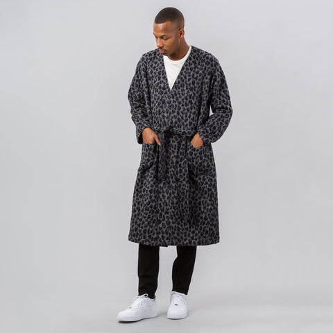 Needles V Neck Robe in Charcoal Leopard Jacquard - Notre