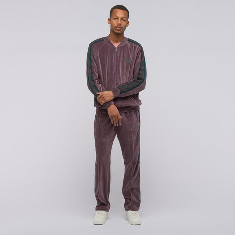 Needles Velour Rib Collar Track Jacket in Maroon - Notre