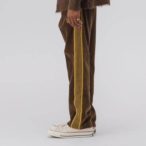 Needles Velour Narrow Track Pant in Brown - Notre