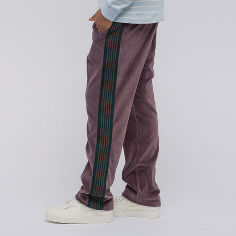 Needles Velour Narrow Track Pant in Maroon - Notre