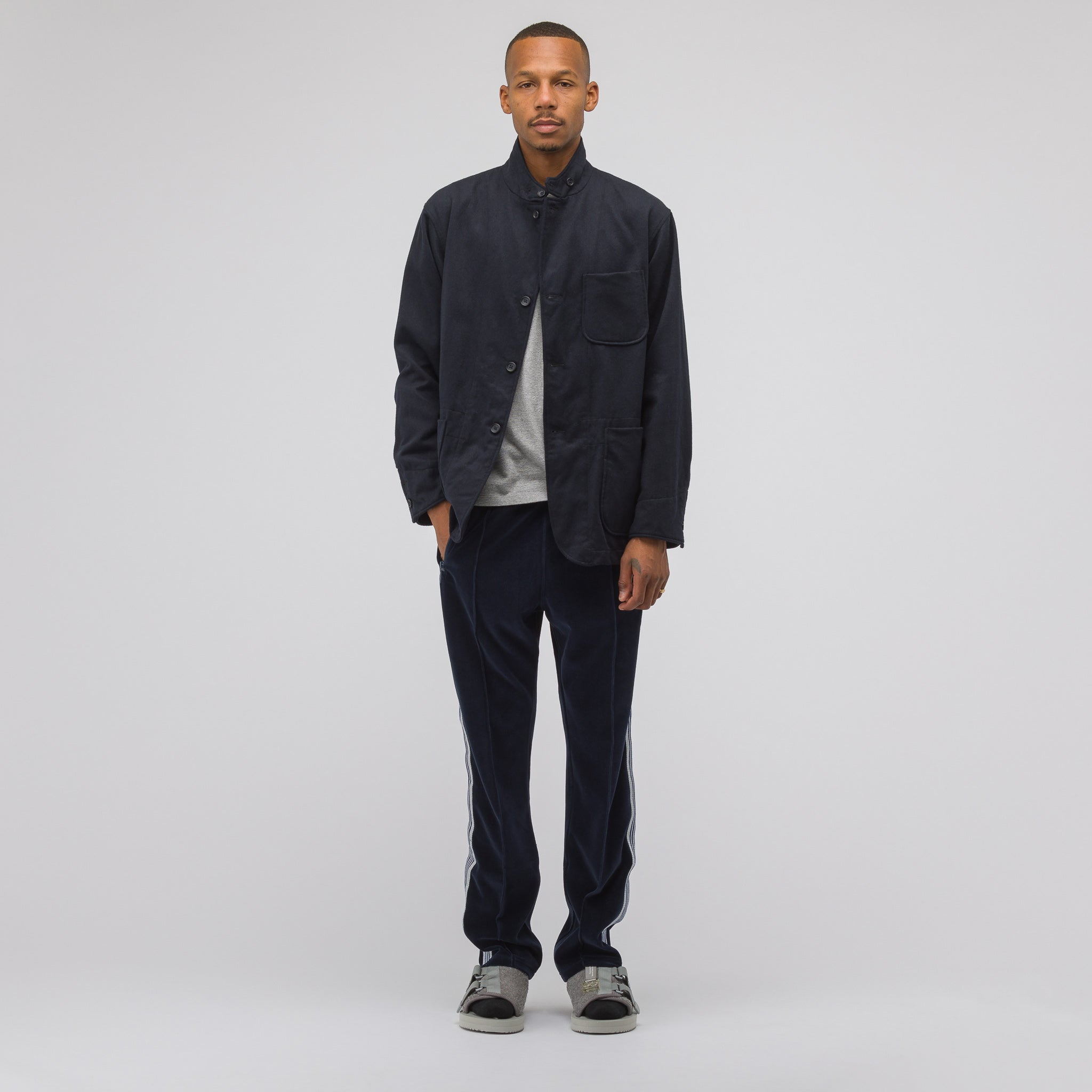 Velour Narrow Track Pant in Navy