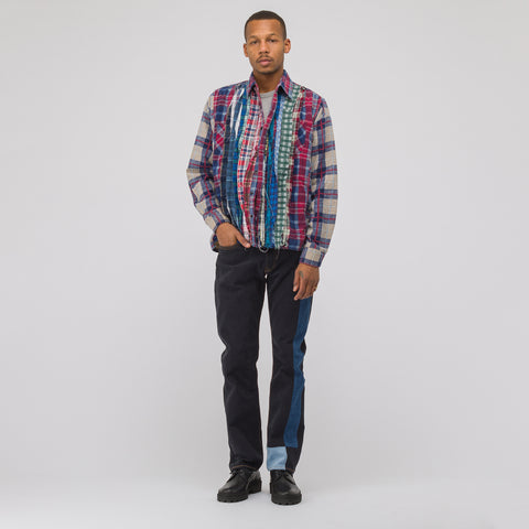 Wide Ribbon Flannel Shirt in Assorted