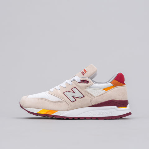 New Balance M998CST in Off White/Burgundy - Notre