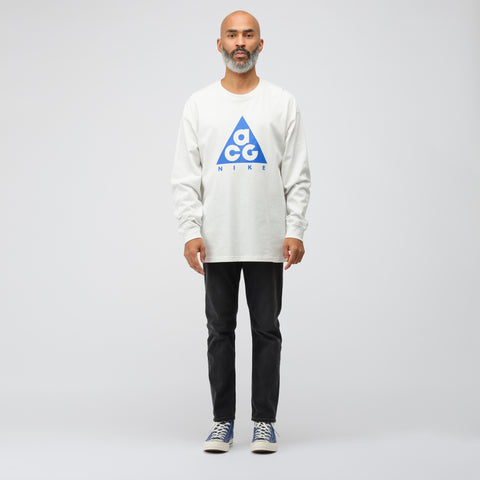 NikeLab ACG Long Sleeve Logo T-Shirt in White/Blue - Notre