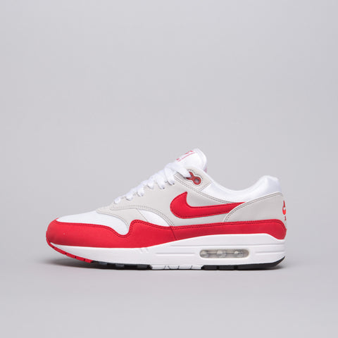 Nike Air Max 1 Anniversary in White/University Red - Notre