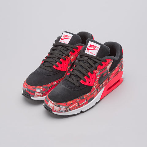 Nike x Atmos Air Max 90 'We Love Nike' in Black/Crimson - Notre