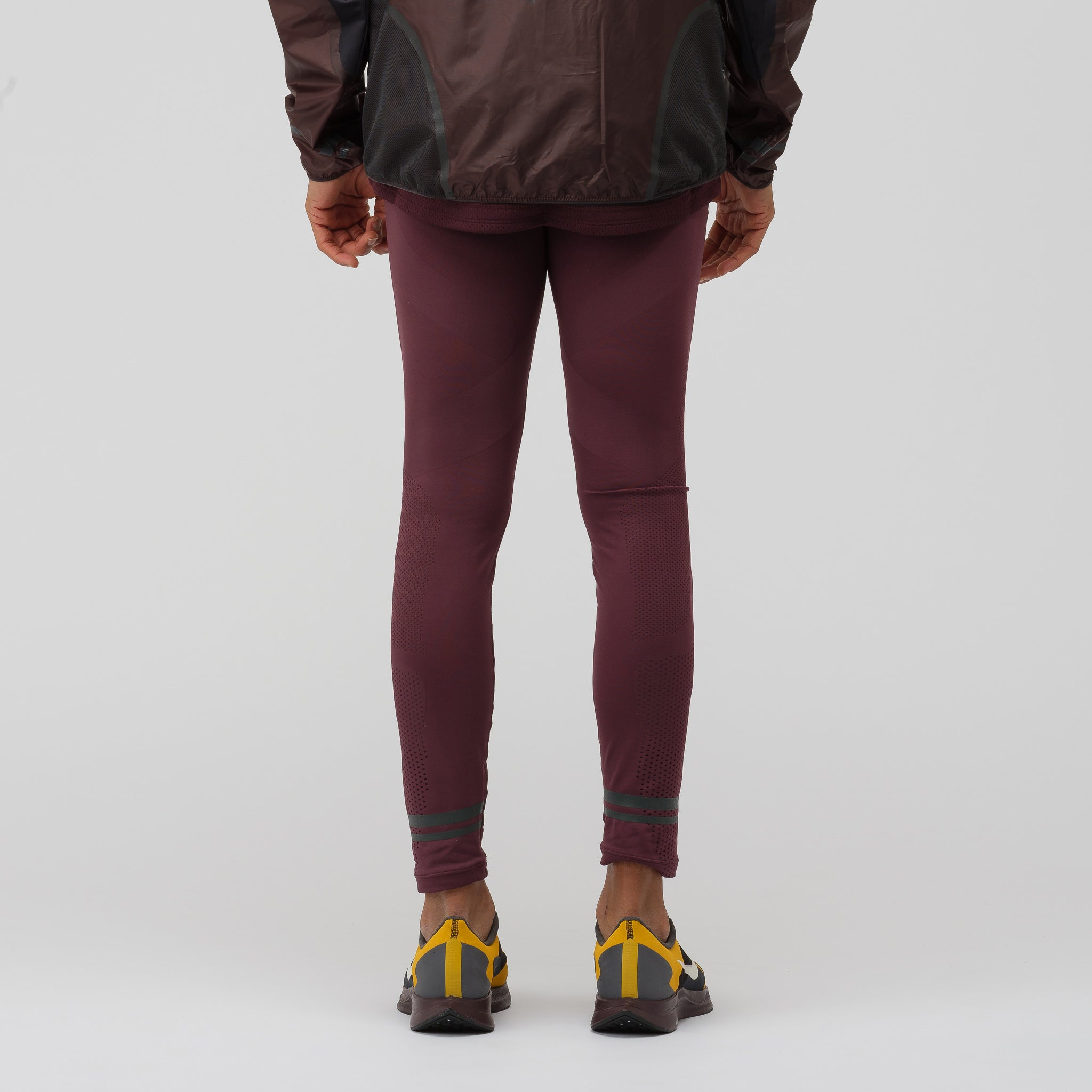 Gyakusou TechKnit Tights in Deep Burgundy/Off Noir