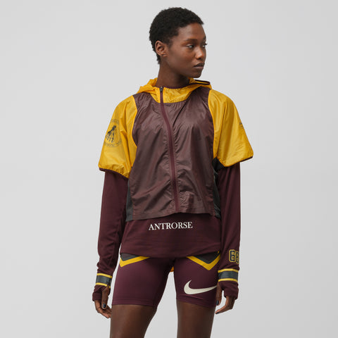 NikeLab Women's Gyakusou Transform Jacket in Gold/Burgundy - Notre