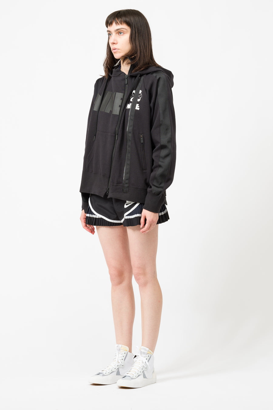 Nike Sacai Double Zip Hoodie in Black/Dark Obsidian - Notre
