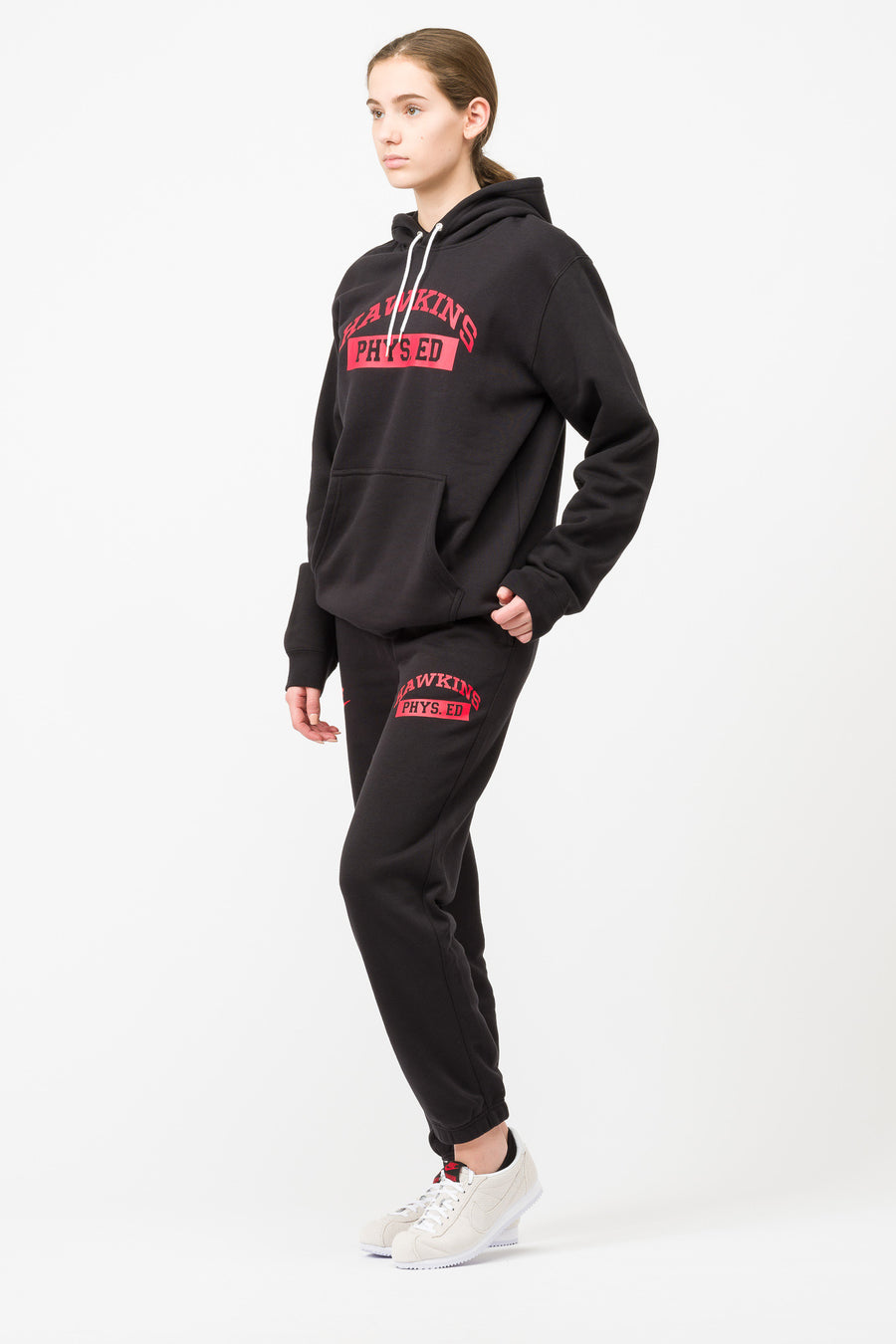 Stranger Things Hawkins Phys Ed Hoodie in Black/Red