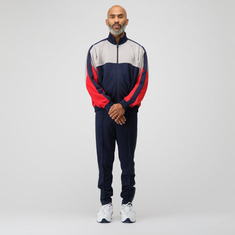 NikeLab x Martine Rose Track Jacket in Blue/Grey/Red - Notre