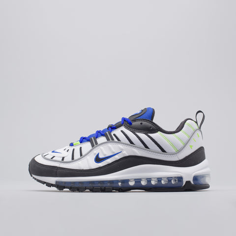 Nike Air Max 98 in White/Black/Blue - Notre