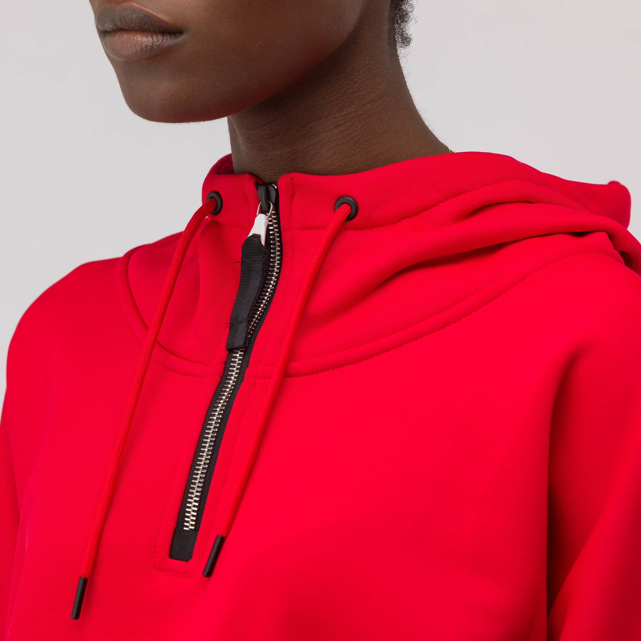 Women's Hooded Long Sleeve Top in Red