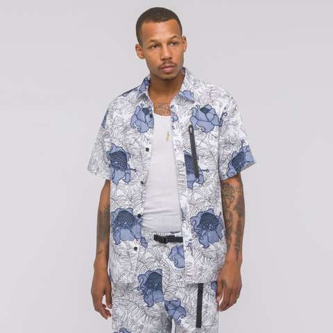 NikeLab NRG Floral Short Sleeve Top in White/Obsidian/Black - Notre
