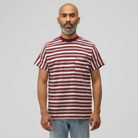 Noon Goons Cruiser Stripe Pocket T-Shirt in Burgundy - Notre
