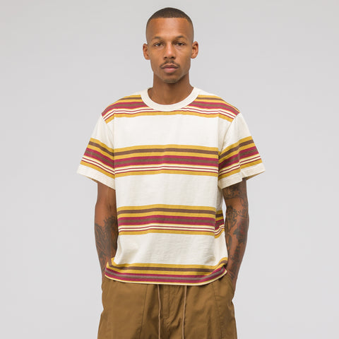 Noon Goons Surfer Stripe Short Sleeve T-Shirt in Cream - Notre