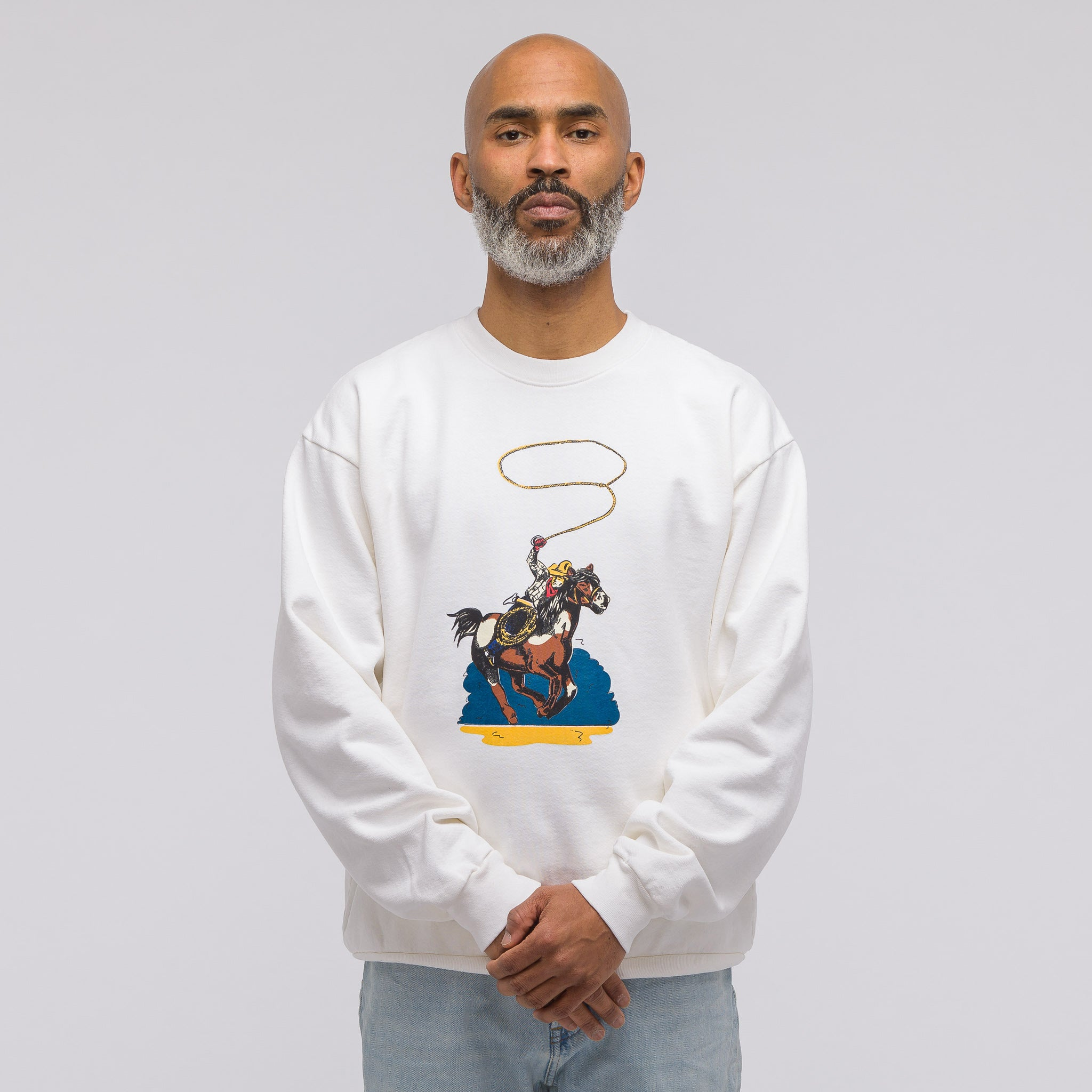 Wrangle Em Crewneck in Vntg White
