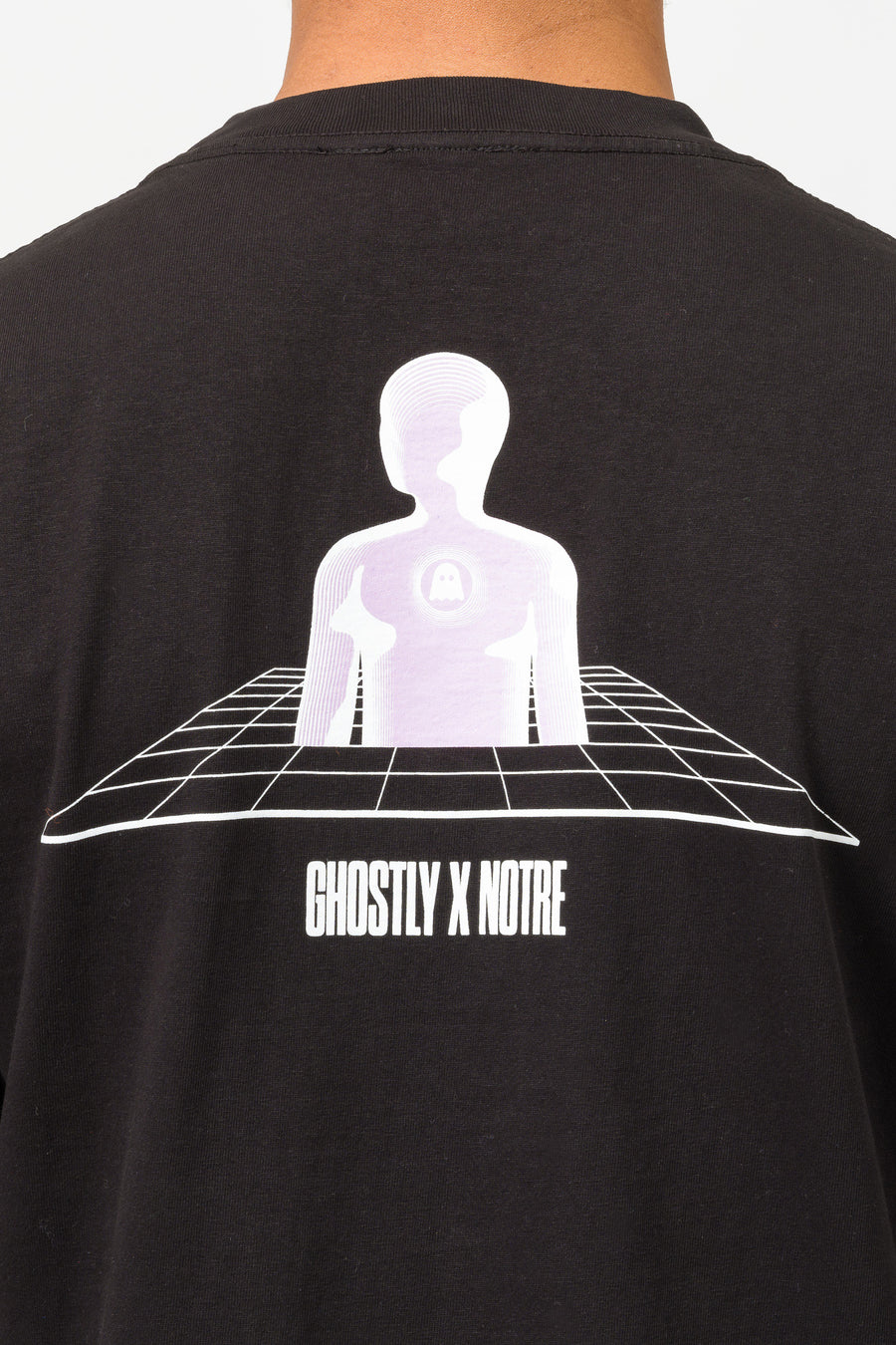 Ghostly Notre x Ghostly Grid Short Sleeve T-Shirt in Black - Notre