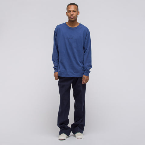 Notre L/S Washed Logo Tee in Blue - Notre