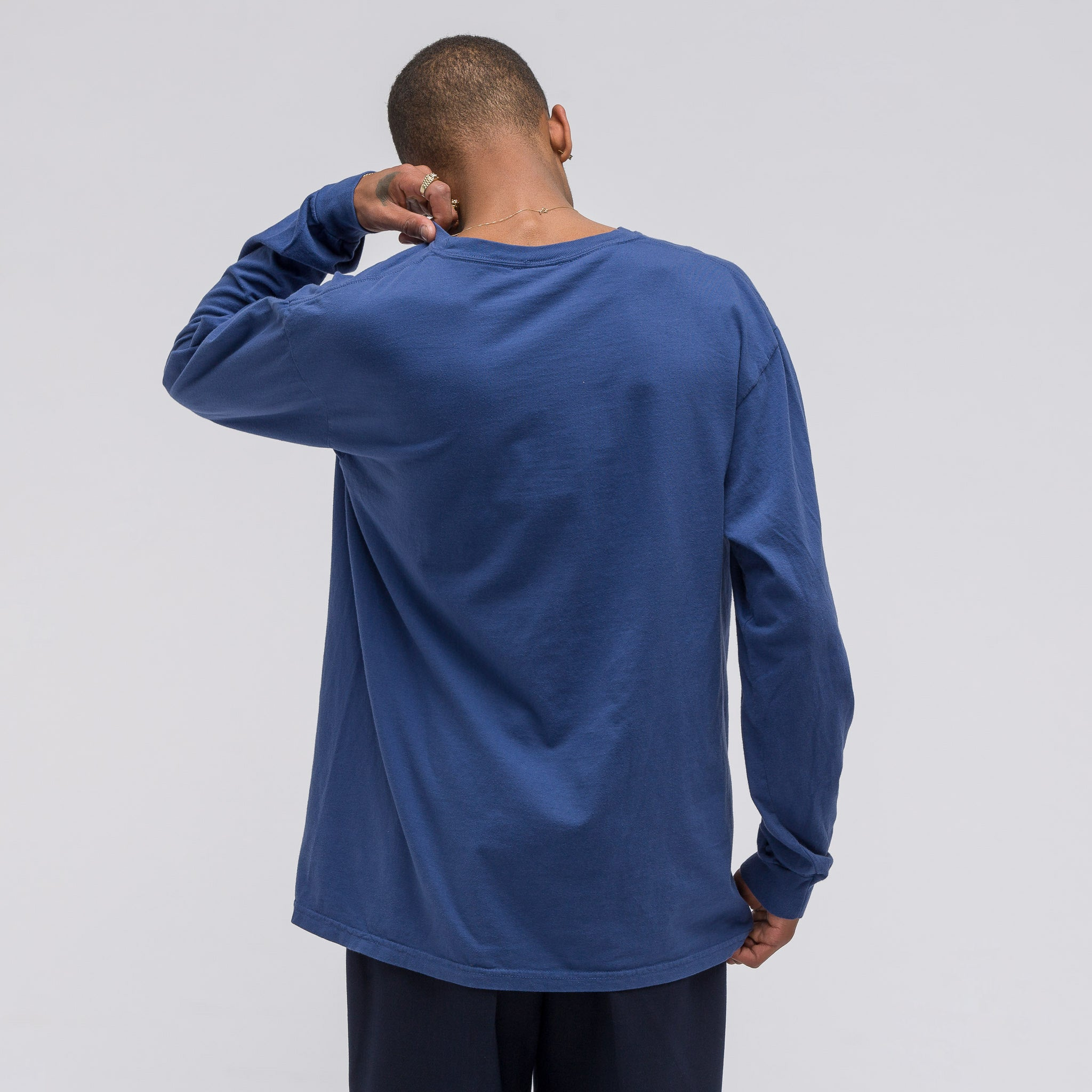 L/S Washed Logo Tee in Blue