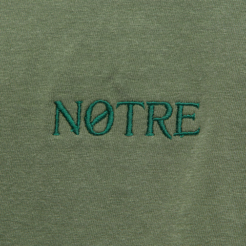 Notre L/S Washed Logo Tee in Green - Notre