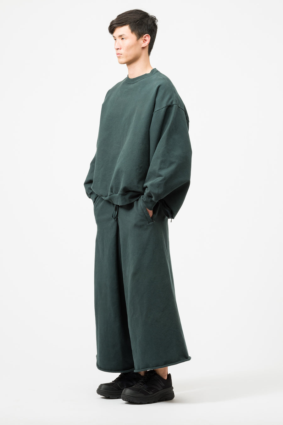 Fumito Ganryu Sweat Hakama Pants in Dark Green - Notre