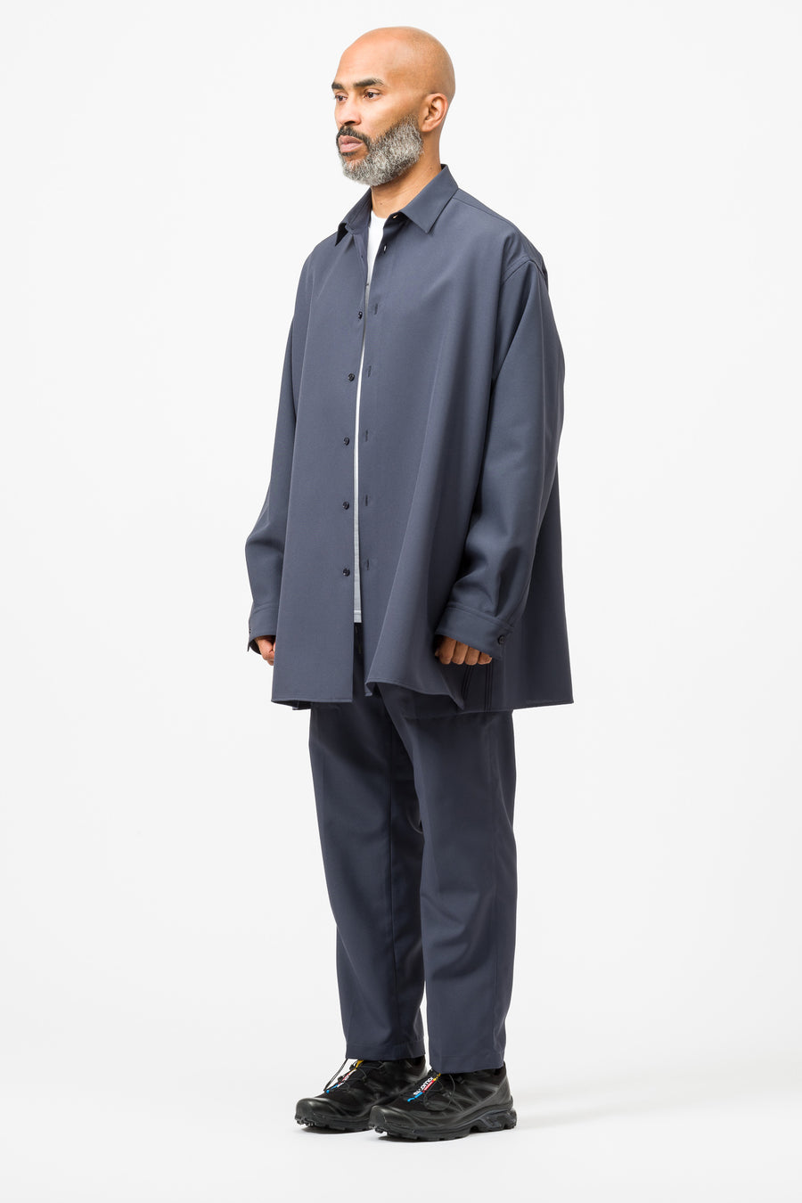 OAMC Apology Button Down LS Shirt in Dark Grey - Notre