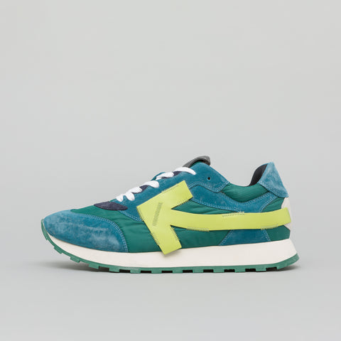 Off-White Arrow Running Sneakers in Green/Fluo Yellow - Notre