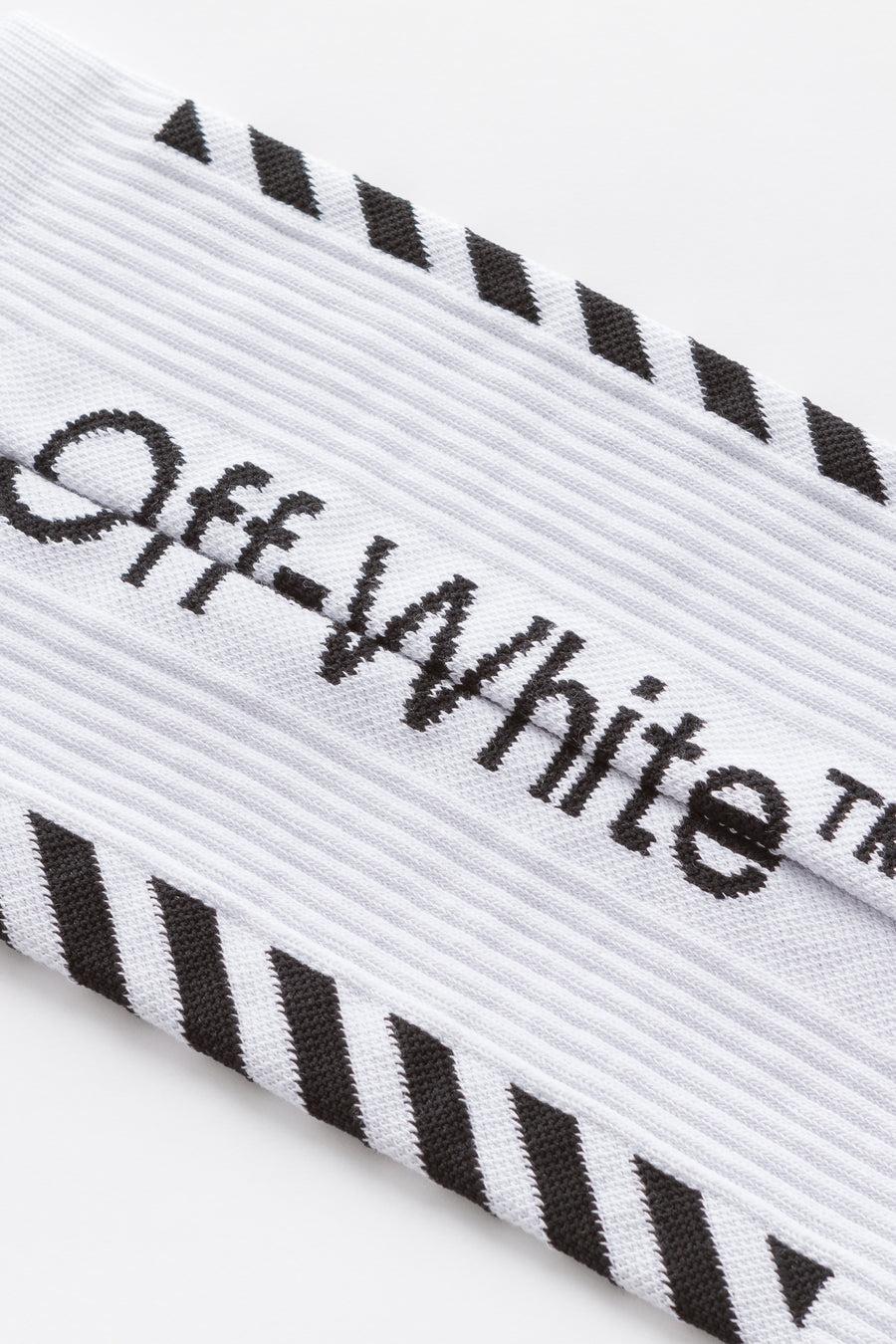 Off-White Diag Mid Length Socks in White/Black - Notre