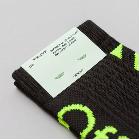 Off-White Diagonal Socks in Black/Fluo Yellow - Notre