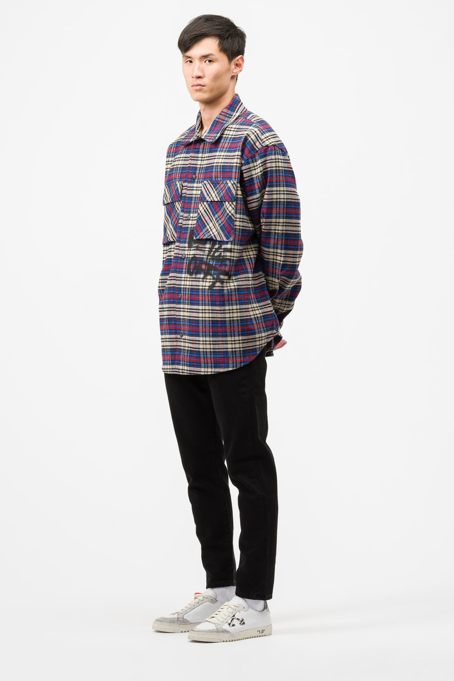 Off-White Flannel Check Shirt in Blue/Black - Notre