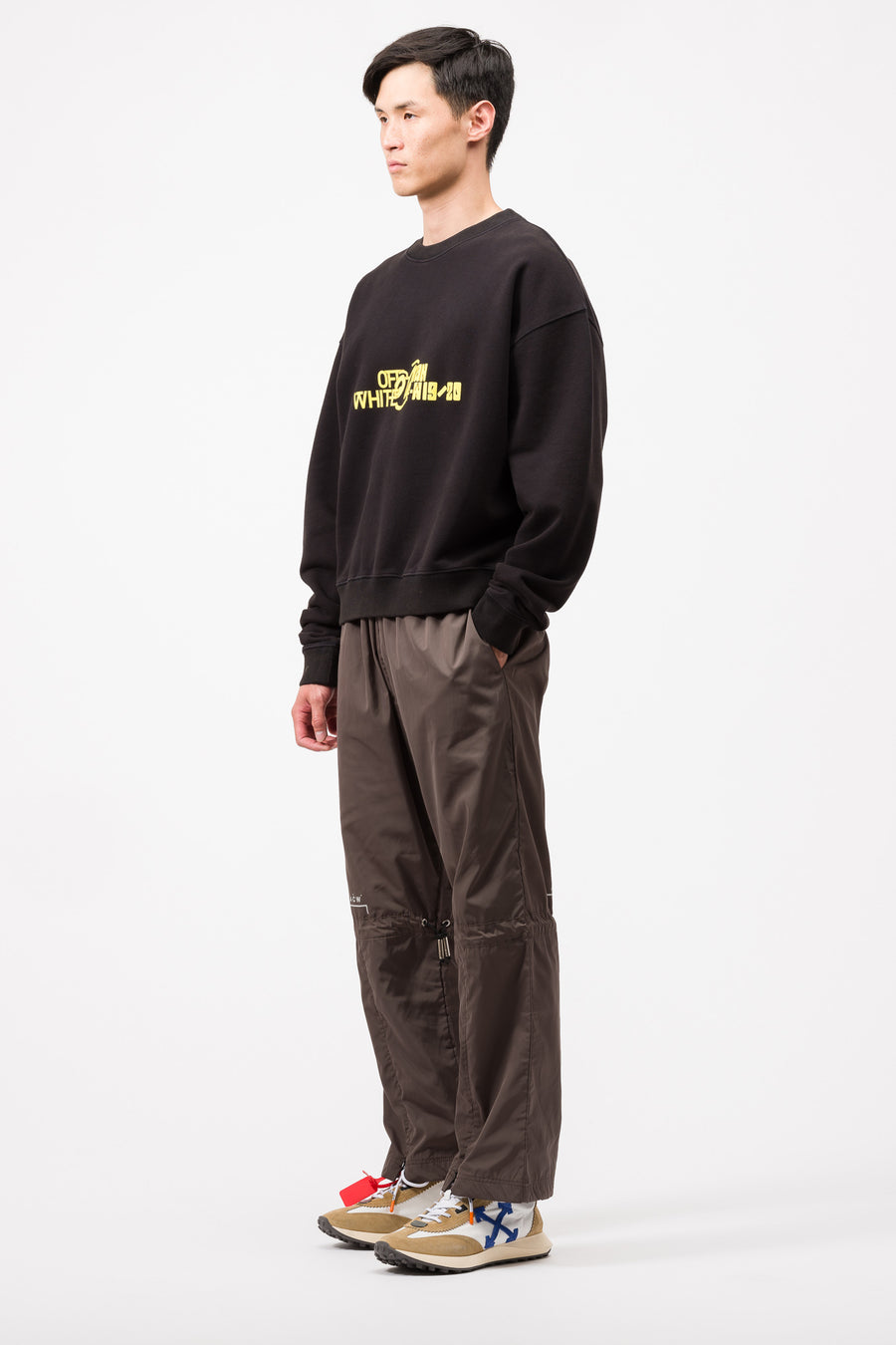 Off-White Halftone Over Crewneck in Black/Yellow - Notre