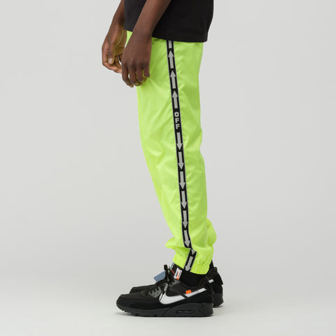Off-White Light Nylon Jogging Pants in Fluorescent Yellow - Notre