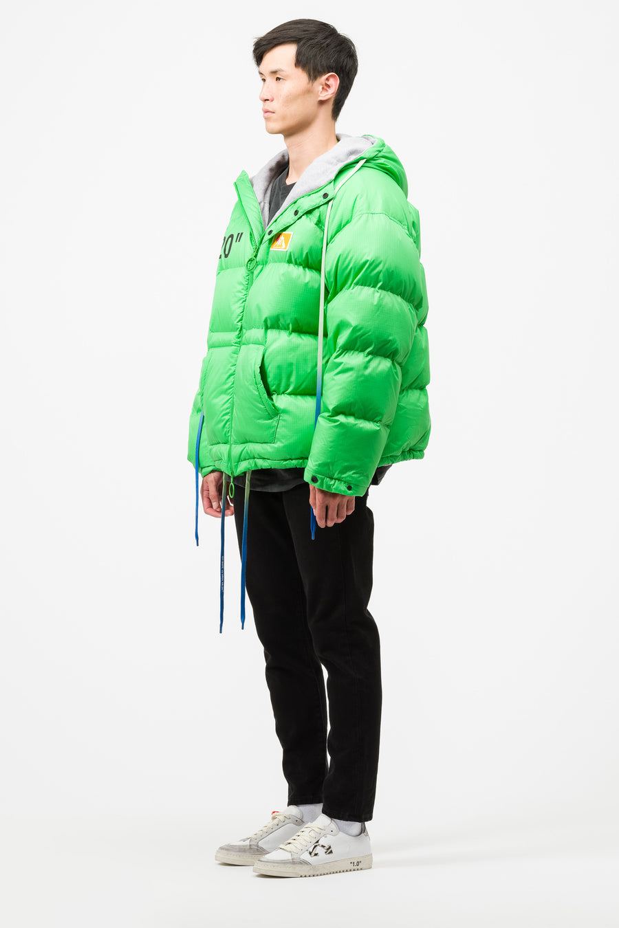 Off-White OW Zipped Puffer in Green/Black - Notre