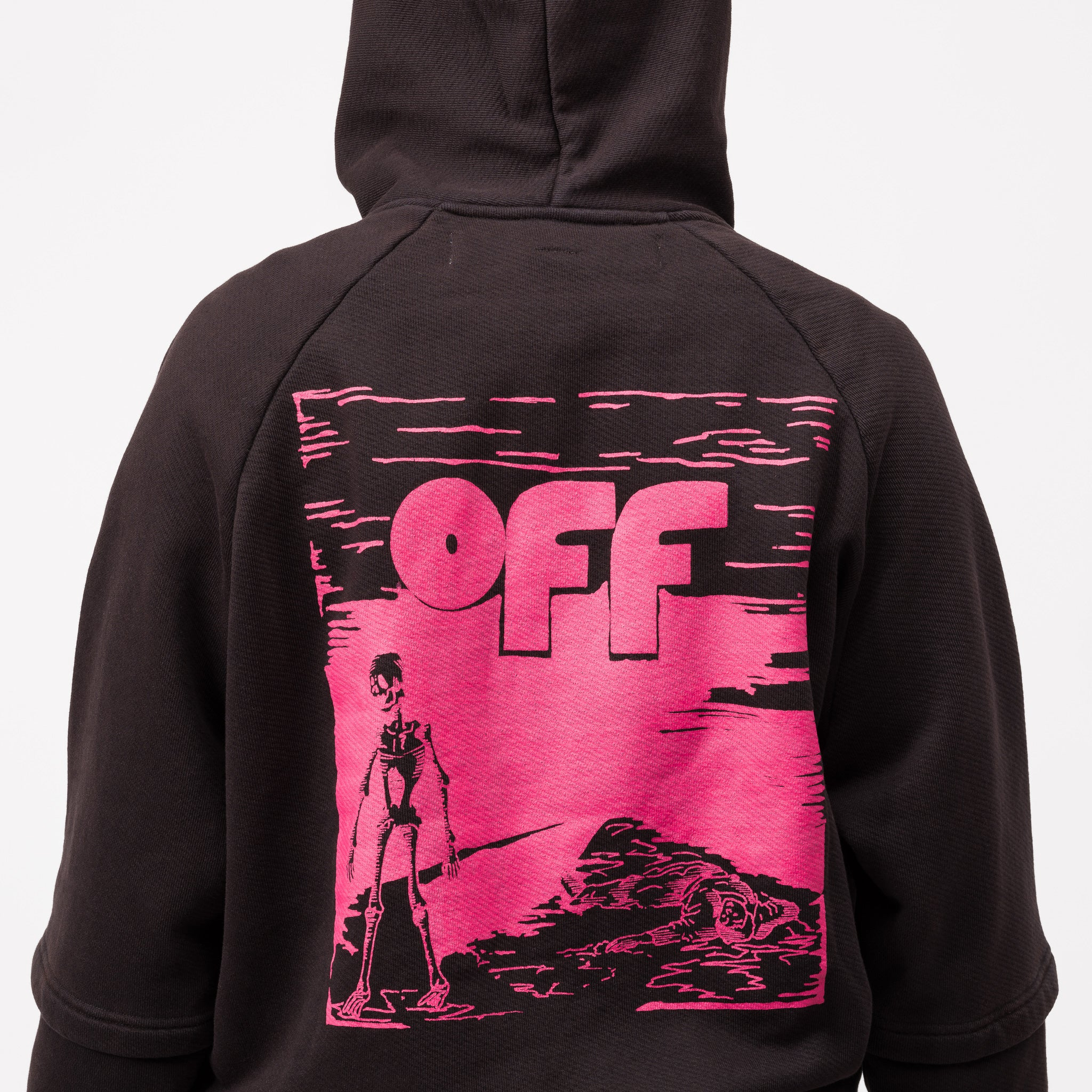 Skull Fleece Double Sleeve Hoodie in Black/Fuchsia