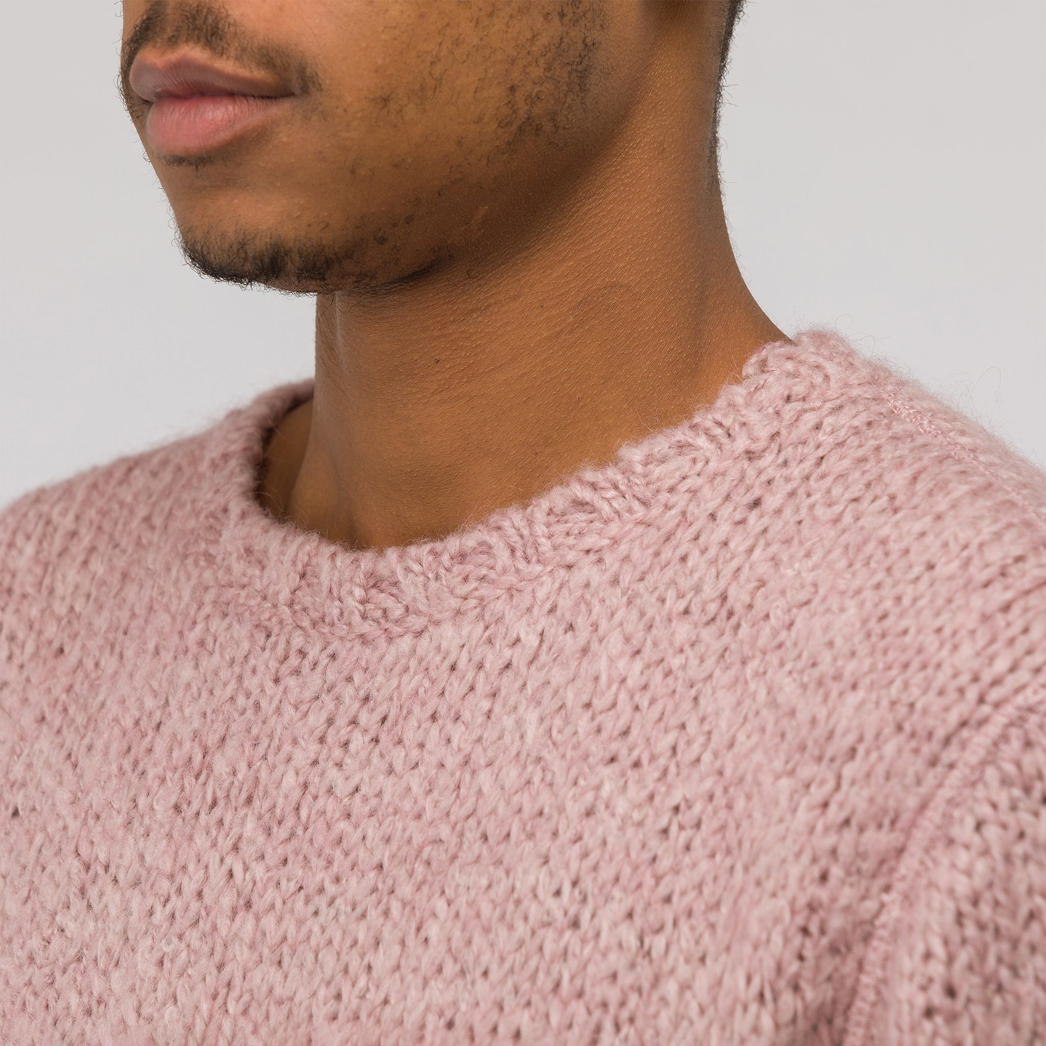 Base Roundneck Sweater in Pink Home Knit