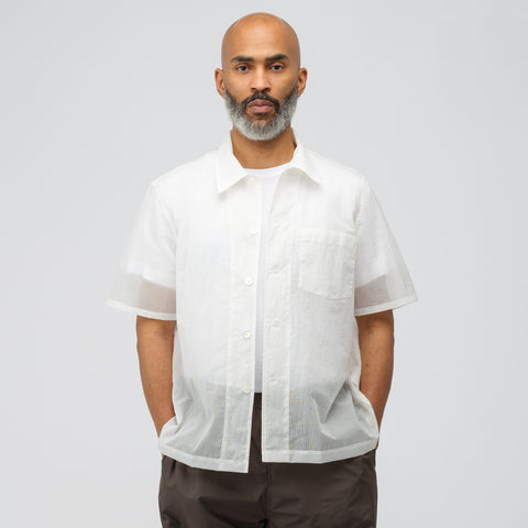 Our Legacy Box Shirt Short Sleeve in White Net Nylon - Notre